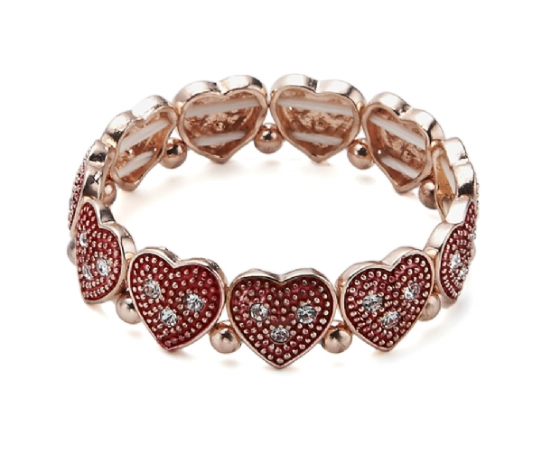 Red Heart gold tone bracelet